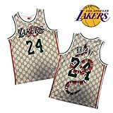 Lakers Kobe レイカーズ神戸#24ユースバスケットボールジャージーベストショーツジョイントモデルスーツ、屋外刺繍トップス、ファンノースリーブスポーツルーズベストポケットパンツ vest-S