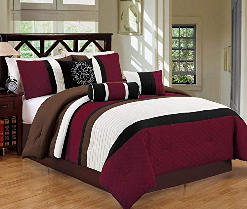 JBFF 7 Piece Bed in Bag Microfiber Luxury Comforter Set (Cal King, Burgundy)