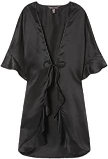 Victoria's Secret Very Sexy Satin Slip Wrap Kimono Robe Black One Size