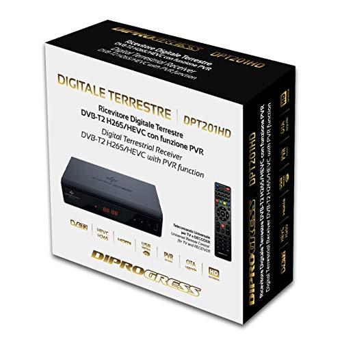 Diprogress dpt201hd decoder digitale terrestre dvb-t2 hevc main 10, nero.