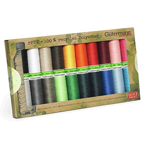 Gutermann Nähgarn, 100 % recyceltes Polyester, 100 - 20 Stück, einfarbig, mehrfarbig, Einheitsgröße