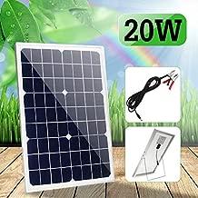 TOTAMEND Solar Panel | 12V 20W 42x28cm Polycrystalline Solar Panel Photovoltaic Panel Aluminum Alloy Frame with Alligator Clip Wire Bracket