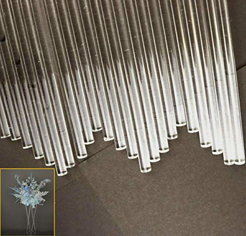 "YG_Oline 24 Pcs 12""/30cm Acrylic Rods, 0.24""/6mm Plastic Dowel Rod Acrylic Shower Rod Acrylic Strip Clear Sticks DIY Handwork Supplies"