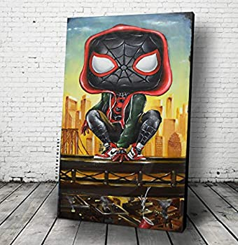 JEREMY WORST | Miles Funko Pop Morales Spiderman Poster or Canvas Wall Art Marvel Comics Movie Enter The Spider Verse Falling Wall Poster keychain sticker pin City New York Hooded Hoodie