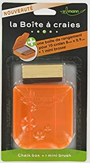 Boîte à craies et mini brosse en bois