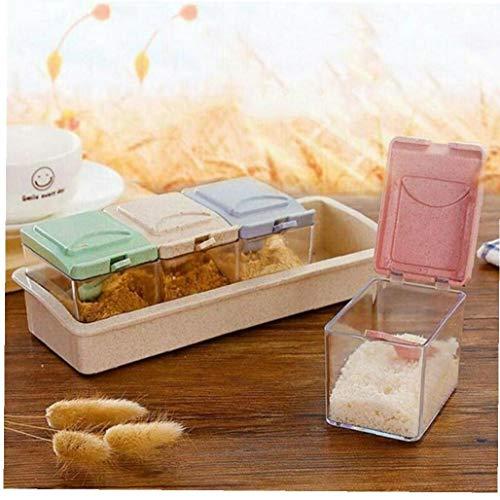 4pcs Condimento Box Set Zuccheriera con Coperchio Vasi della Spezia Condimento Zucchero Sale Contenitore di Immagazzinaggio della Cucina della Cassa Spice Contenitori di Colore Casuale
