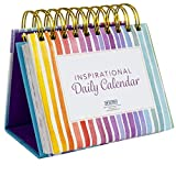 Motivational & Inspirational Perpetual Daily Flip Calendar Self-Standing Easel (Rainbow Stripe)