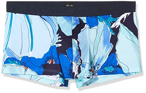 HOM Herren Aqua Trunk Boxershorts, Gros Imprimé Floral Turquoise/Bleu/Vert, L
