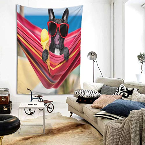 Decorative Tapestries,French Bulldog On Ocean Beach Eating Ice CreamTapestries Wall-Mounted Vertical Version Bedroom Living Room Dorm Room 80x60 In
