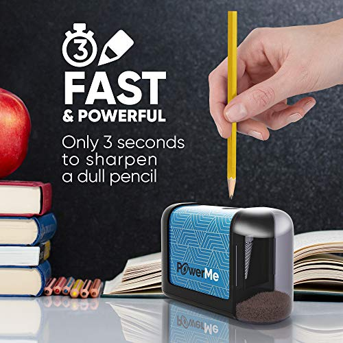 POWERME Electric Pencil Sharpener - Pencil Sharpener Battery Powered for Kids, School, Home, Office, Classroom, Artists – Battery Operated Pencil Sharpener For Colored Pencils, Ideal For No. 2 (Blue) Photo #5