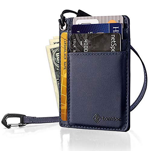 tomtoc Slim Minimalist Front Pocket RFID Blocking Leather Wallets with Chain Credit Card Holder Organizer Money Clip with Strap for Men Women