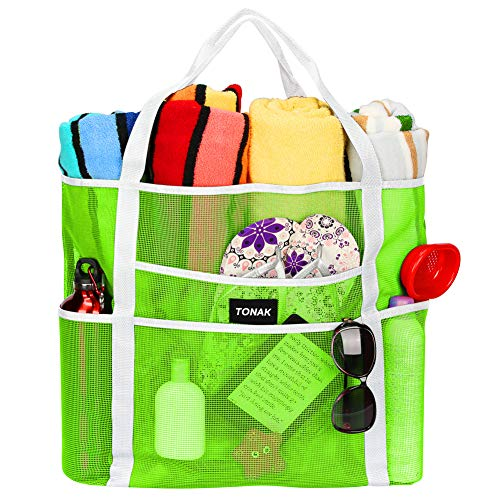 Mesh Beach Bag Tote Bag Grocery Storage Bag Oversized Big XL with Pockets Big Large Foldable Lightweight for Family Pool Green Color