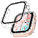 TOCOL 2 Pack Case Compatible with Apple Watch Series 3/2/1 42mm with Built-in Tempered Glass Screen Protector, Bling Crystal Diamond Face Cover for Women iWatch 42mm - Clear