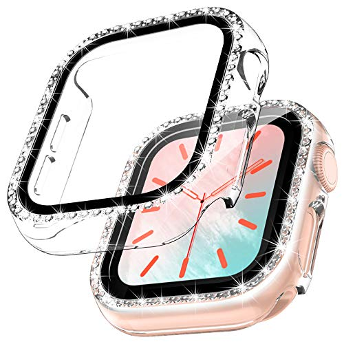 TOCOL 2 Pezzi Brillantini Cover per Apple Watch Series 6 5 4 SE 40mm con Vetro Temperato, HD Clear Pellicola Protettiva Custodia Copertura Completa Sottile Rigida Protezione - Trasparente