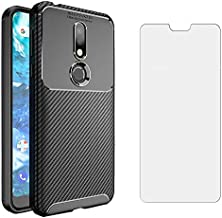 Phone Case for Nokia 7.1 with Tempered Glass Screen Protector Cover and Cell Accessories Slim Thin Rugged Soft TPU Silicone Carbon Fiber Nokia7.1 TA-1085 Cases Women Girls Girl Men Boys Teens Black