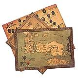 Game of Thrones Poster 3er Set mit Weltkarte, Karte