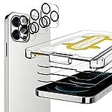 EGV Compatibile con iPhone 12 PRO 6.1 Pollice Pellicola Protettiva,3 Pack Vetro Temperato e 3 Pack Pellicola Fotocamera Nero