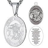 FaithHeart Acero Metal Collar con Inscripción Biblia Cadena de Eslabones Cuadrados Unisex Hombre Mujer Joya Protecdora Medalla Oval San Miguel Arcángel
