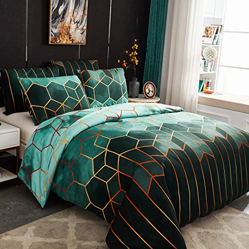 Dencalleus Geometric Printed Duvet Cover Set, Brushed Microfibre Nordic Soft Quilt Covers with Corner Ties, Double Size, Boho Bedding Sets with Zipper Closure and Easy Care Hotel Quality, Green