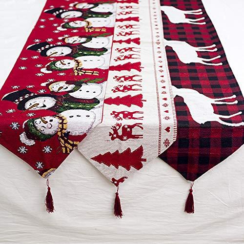 Frmarche Navidad - Mantel de Mesa Bordado, Mantel para Fiesta de cumpleaños, diseño de Copo de Nieve, 180 x 35 cm...