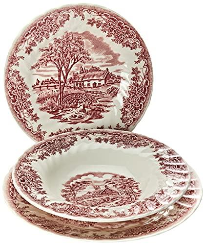 Churchill Service Assiettes 18 Pièces, décor brookpink, Earthware, Blanc/Rouge