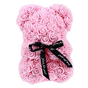BESPORTBLE 1pc Rose Teddy Bear Artificial Rose Flower Bear Gift for Valentines Day, Mothers Day, Anniversaries, Birthday Present (Red)