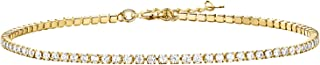 PAVOI 14K Gold Plated Charm Link Flat Gold Anklets for Women