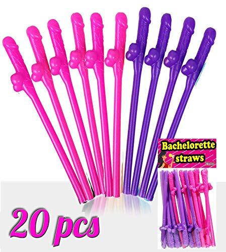20 pcs Bachelorette Party Straws - Naughty Party Decorations - Funny Hen Drinking Straws - Perfect for Naughty Hens Night Bachelor Party Decorations