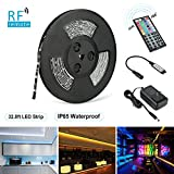 LED Strip Lights, Nexlux 32.8ft Waterproof IP65 5050 SMD RGB LED Flexible Strip Light Black PCB Board Color Changing Decoration Lighting 44 key RF Controller+ UL Approved Power Adapter