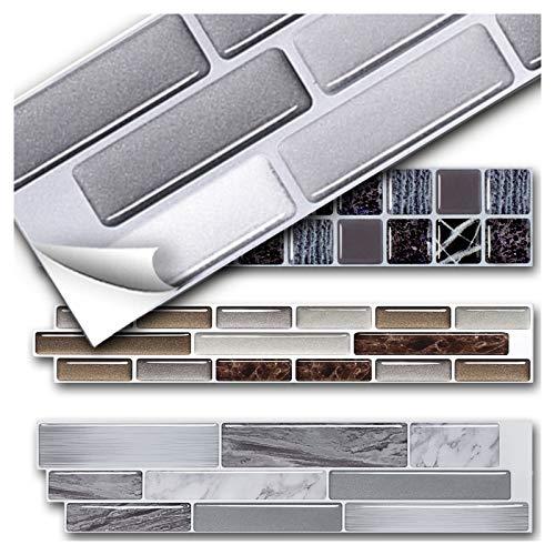 Grandora 5 Piezas 27,9 x 4,3 cm Pegatina Azulejos y baldosas ladrillo Gris Plata Blanco I 3D Autoadhesivo baño Cocina decoración de W5571