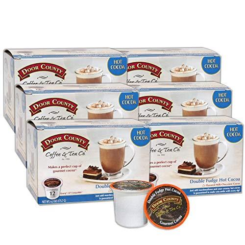 Door County Coffee, Single Serve Cups for Keurig Brewers, Double Fudge Cocoa, 72 Count