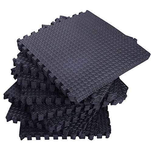 YBAO Puzzle 114 Sq.ft Exercise Mat, EVA Foam Interlocking Tiles, Protective Flooring for Gym Equipment and Cushion for Workouts