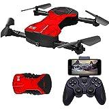 GRTVF RC Drone, Drone Pliable avec caméra, 30W HD WiFi FPV Diffusion en Direct, App-Control, Une clé de démarrage/atterrissage, Mode sans tête, Gesture Control Rouge