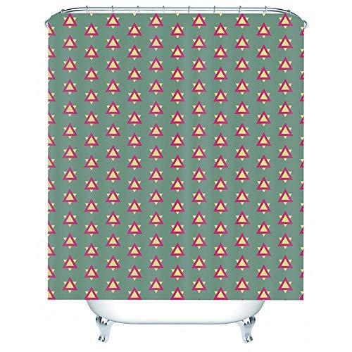 NZDSXQ Duschvorhang Cyan Dreiecksdruck 3D Duschvorhäng Wasserdicht Anti Schimmel antibakteriell Shower Curtain mit 12 Duschvorhängeringen 180x180cm