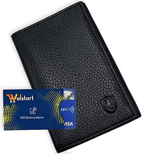Porte Papier Voiture Cuir avec 2 Etuis Proteges Carte Grise et Permis - Porte Document Véhicule avec Rangement Assurance et vignettes -Bonus : Pochette Blocage RFID WalStart (Noir)
