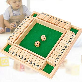 Shut The Box Dice Game Classics 4 Sided Wooden Board Game 2-4 Players Learning Numbers Pub Bar Smart Game for Adults Kids