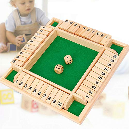 Shut The Box Dice Game, Classics 4 Sided Wooden Board Game, 2-4 Players, Learning Numbers Pub Bar...