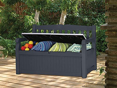 Koll Living Garden Gartenbank Eden - anthrazit - Kissenbox mit Stauraum - 265 Liter Raumvolumen - ca. 220 kg Deckelbelastung - 3