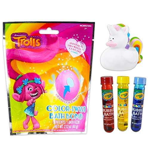 Trolls Bath Toys for Kids Set ~ 2 Trolls Bath Bombs, 3 Color Bubble Bath Tubes,...
