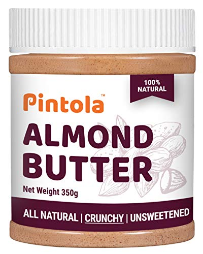 All Natural Roasted Almond Butter, Spread (Crunchy) 350gm ( 12.34 OZ) By Pintola