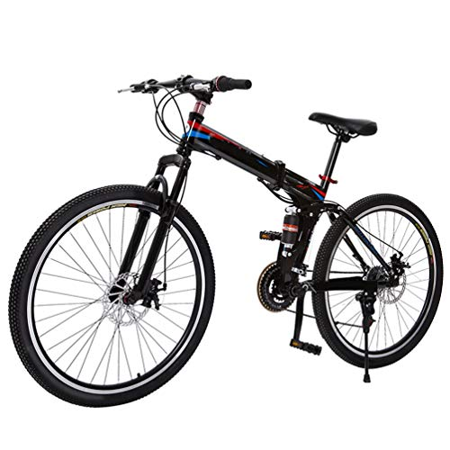 GHZ Mountain Cross-Country bike-21/27 inch Lightweight Folding Mountain Double Suspension Bicycle,Adult Portable Small Road Bike
