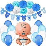 Jonami Decoraciones Fiesta de Bienvenida de Bebe Niño. Bandera Es Un Chico It's a Boy + Globo de Papel de Aluminio a Recien Nacido + 8 Pompones + 12 Globos. Accessorios Baby Shower