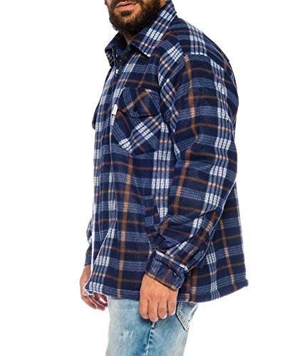 Benk Holzfällerhemd Arbeitshemd Flanellhemd/Jacke Kariert Thermohemd gefüttert 01 (XL, 03 Navy/Weiß)