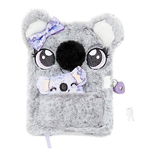 Claire's Plush Lock Diary for Girls, Sidney The Koala, Gray with Purple, Includes Lock with 2 Keys and Mini Notebook, 6x8 Inches