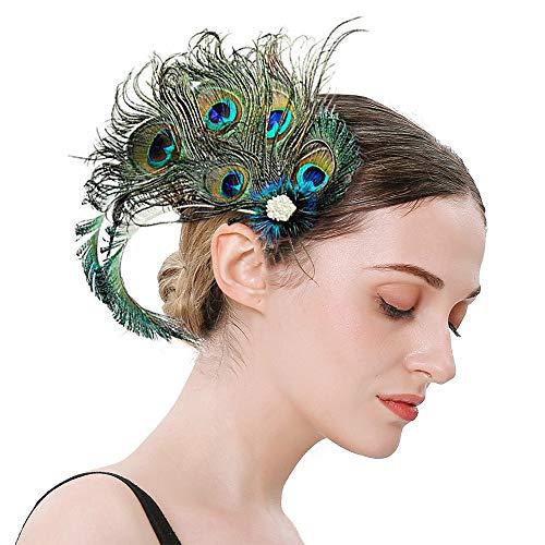20er Jahre Accessoires Pfauenfedern Haarspangen Damen, Kopfschmuck Gatsby Accessoires Haarclip Mit Perlen Strasssteinen, Fascinator Pfauenfeder Haarnadel Stirnband für Halloween Karneval