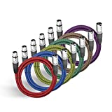 XLR Cable 3ft, BIFALE Heavy Duty Hybrid Braided XLR Patch Cable 3Pin XLR Male to Female Multi-Colored Microphone Cable Balanced Mic/Snake Cord - 6Pack (TOP Series)