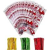 100 Pezzi Sacchetti di Cellophane Halloween Natale Borse Trattare Trasparente Borse Goodies con 150 Pezzi Twist Tie per Fornitura di Festa (Stile 3)