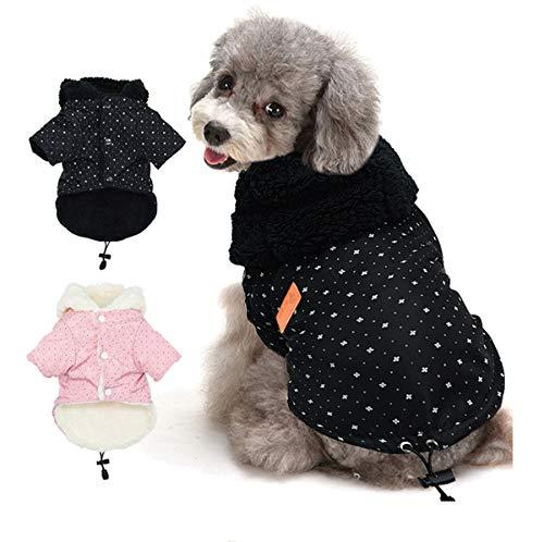 Tineer Pet Puppy Little Star Coat, Haustier Hund warme Winterkleidung Welpen Katzen Pullover Mantel Bekleidung kleine Hund (L, Schwarz)