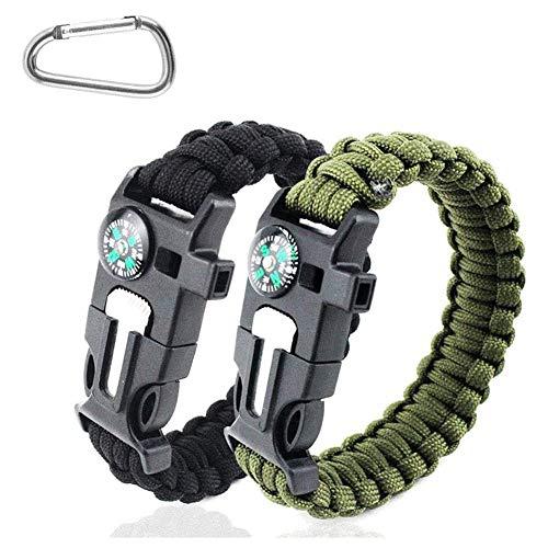 Hasey 2 pulseras 5 en 1, brújula, pulsera de supervivencia, perfecta para senderismo, camping