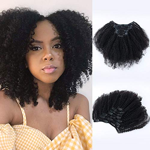 Sixstarhair 16inch Kinky Curly Clip In Hair Extensions Thick and Good for Adding Volume Natural Human Hair Extensions, 8A Grade Remy Human Hair, 7 Pieces 120g, 16inch